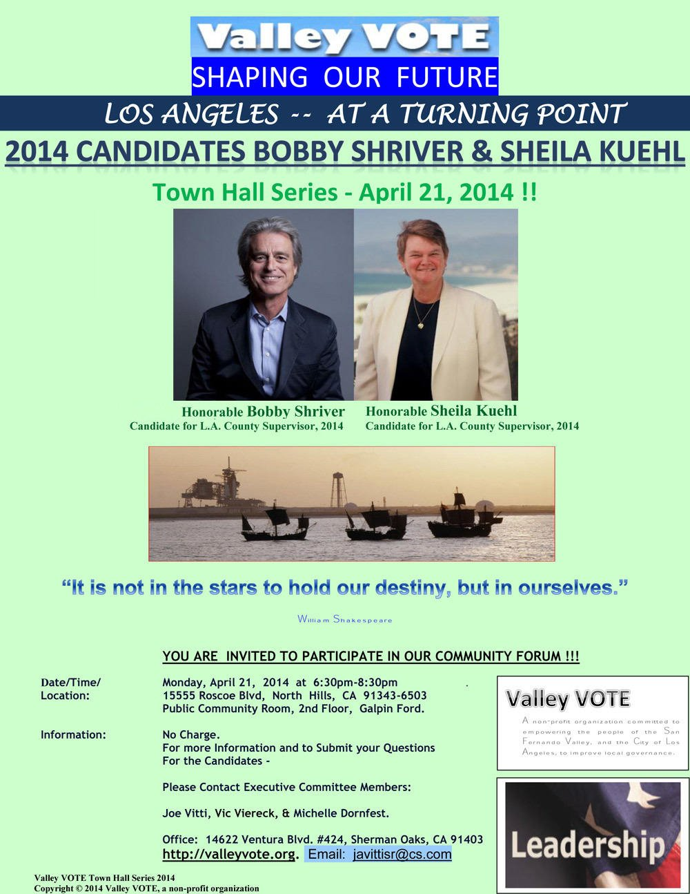Special--Invitation---To-Meet-&-Greet---Candidates,-Bobby-Shriver-&-Sheila-Kuehl-----April-21-2014---Valley-Vote-